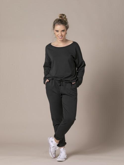 Woman Plush cotton trousers Black