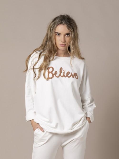 Woman Oversized message sweatshirt White