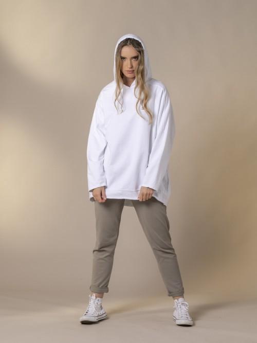 Sudadera mujer oversize con capucha Blanco