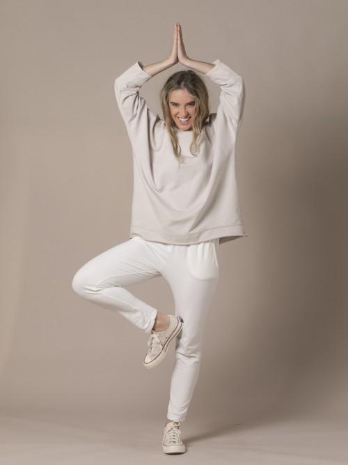Woman Oversized hooded sweatshirt Beige