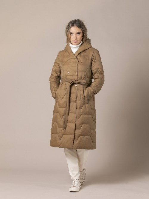 Woman Wrap-around coat with belt Camel