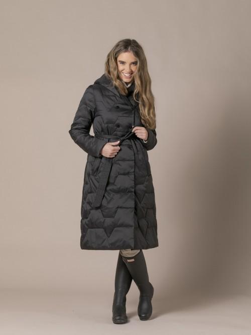 Woman Wrap-around coat with belt Black