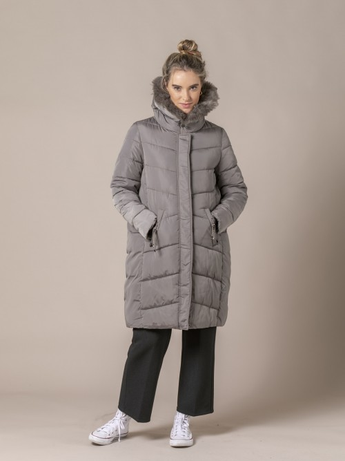 Woman Oversize padded coat with fur Stone