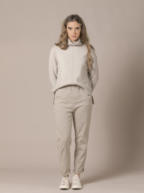Woman Soft trousers Stone