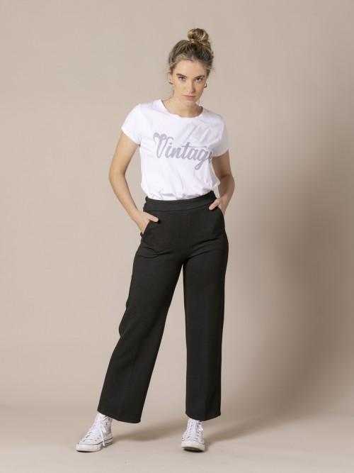 Pantalón culotte mujer con bolsillos Negro