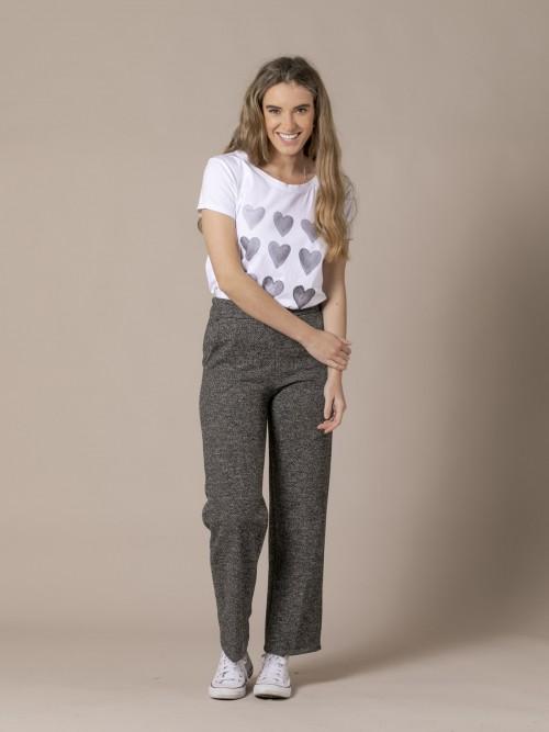 Pantalón culotte mujer con bolsillos Gris Oscuro