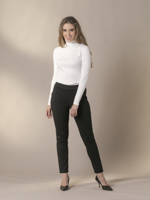 Woman Sport trousers with leatherette trim Black