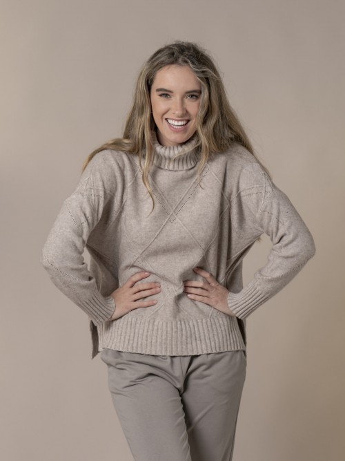 Woman Knitted sweater with rhombus pattern and roll neck Beige