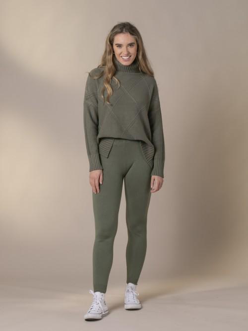 Woman Stretch low-knit trousers Khaki