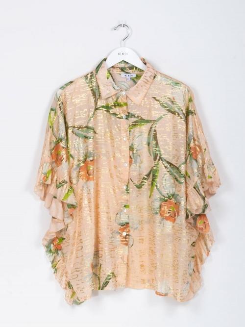 Camisa oversize volante brillo mujer Rosa