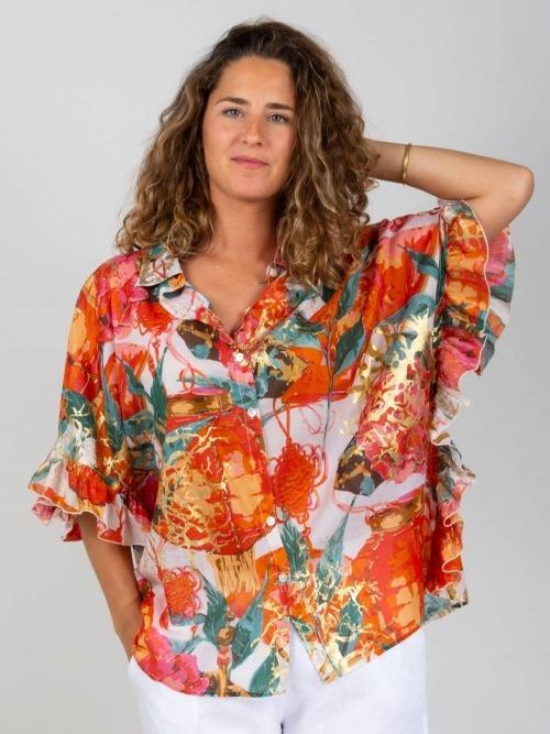 Camisa oversize volante brillo mujer Naranja