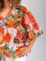 Oversized shiny ruffle shirt Orange