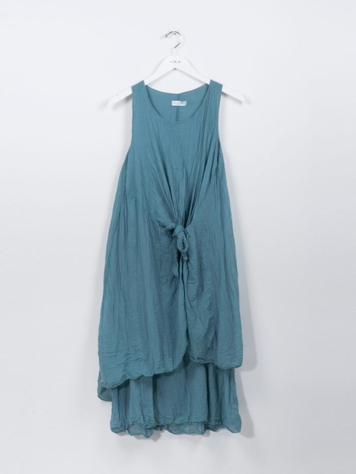 Vestido algodón nudo mujer Verde