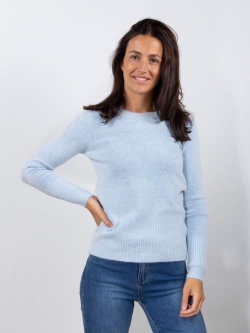Jersey punto cuello redondo mujer Azul Celeste