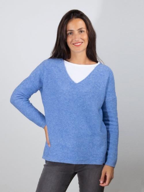 Jersey punto oversize cuello pico mujer Azul