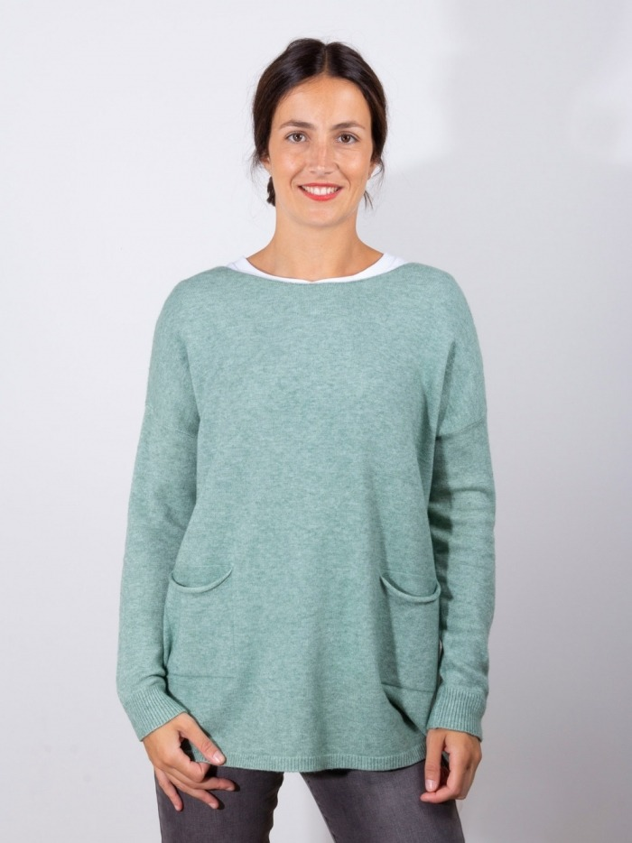Women oversize jumper with 2 pockets Green