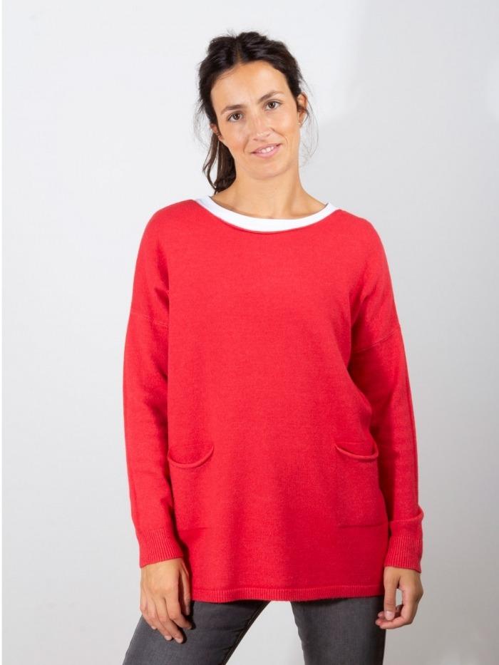 Jersey punto oversize 2 bolsillos mujer Rojo