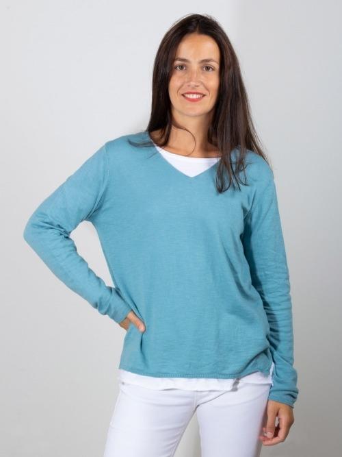 Jersey algodón fino cuello pico mujer Turquesa