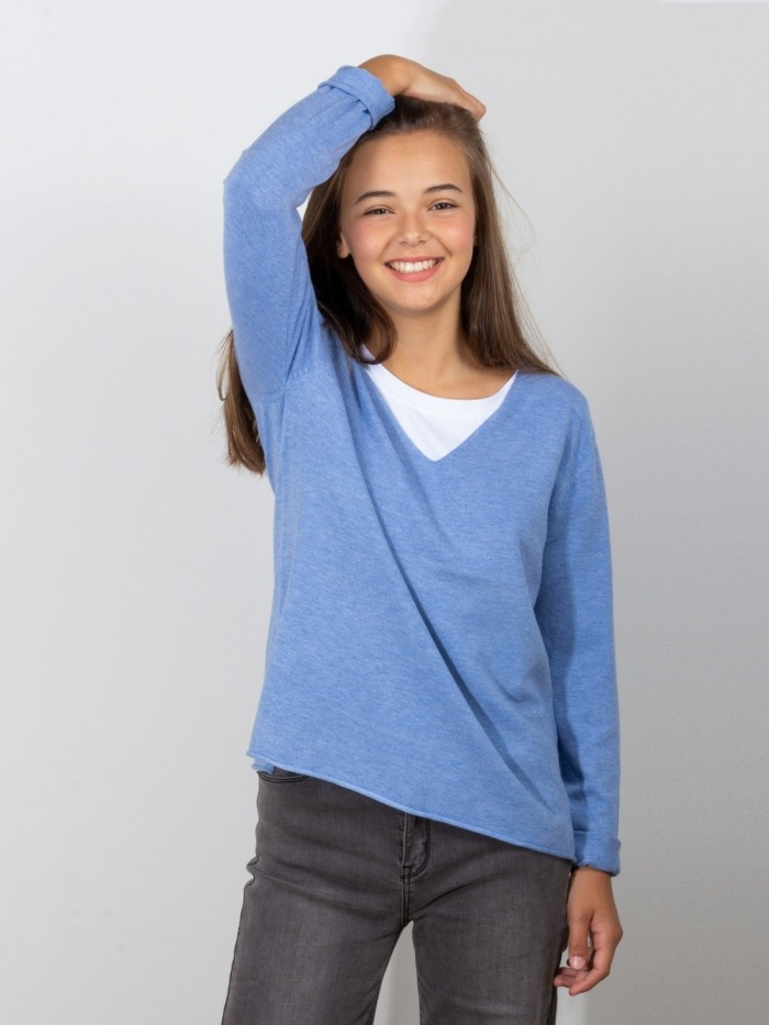 Women jumper with openings Blue