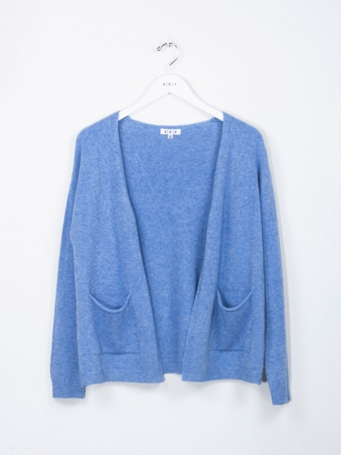 Women v-neck cardigan with 2 pockets Blue