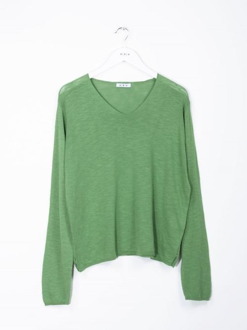 Jersey algodón fino cuello pico mujer Verde