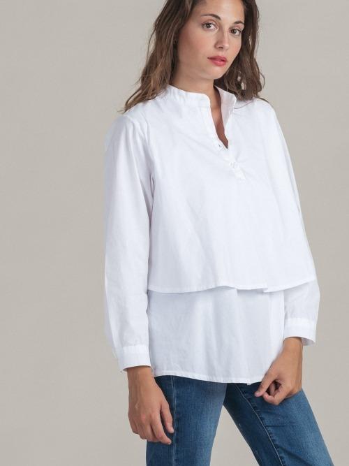 Camisa doble algodon mujer