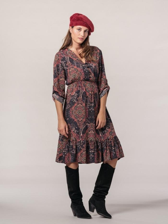 Women midi fluid print dress Grey
