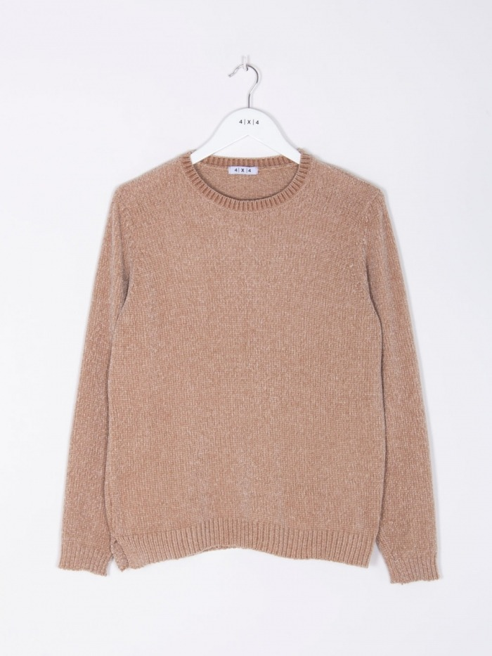 Women Chenille oversized knit sweater Beige