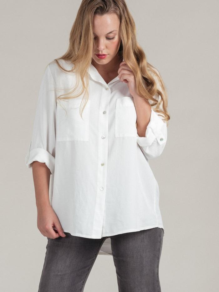 Women lyocell pockets fluid shirt White