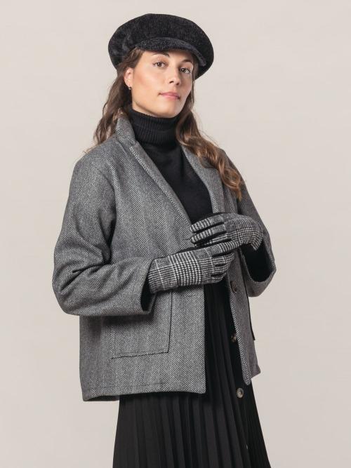 Abrigo corto espiga mujer