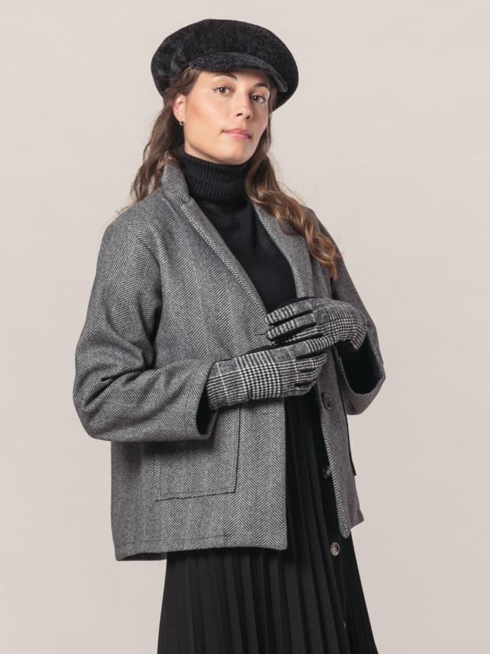 Women short herringbone coat Grey