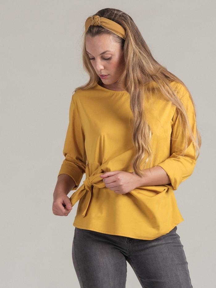 Camisa algodón popelín mujer Ocre