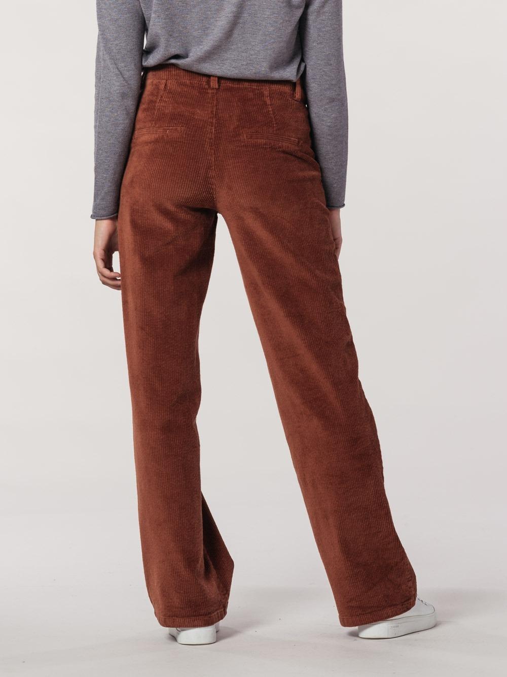 Woman wide leg corduroy pants Tile