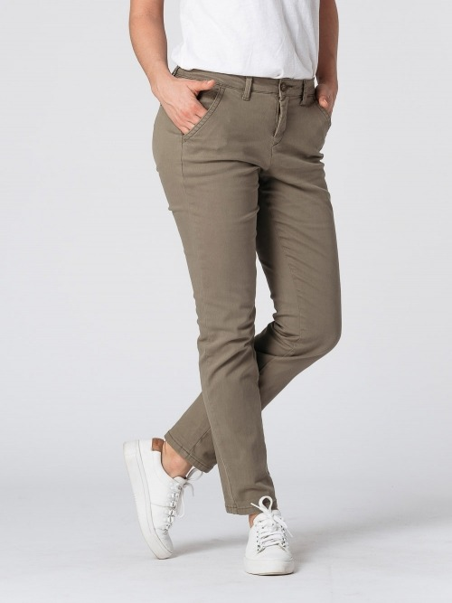 Pantalon chino algodon mujer