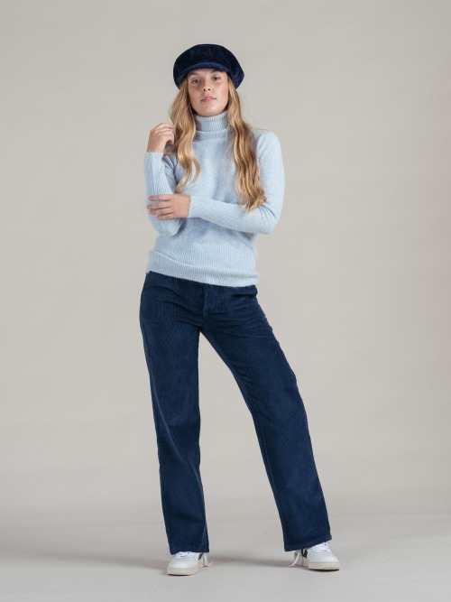pantalon pana wide leg mujer