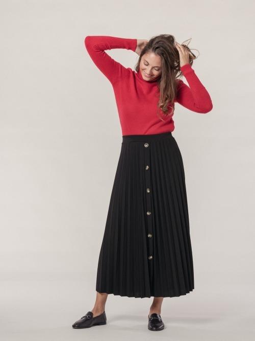 Falda larga plisada botones mujer
