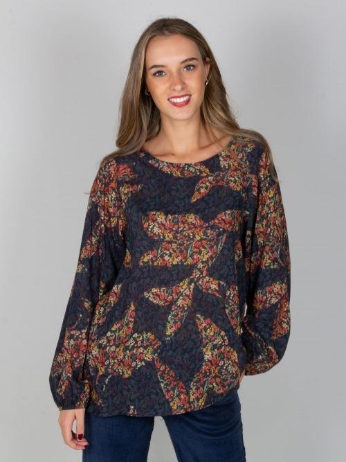 Camisa fluida flor oversize mujer