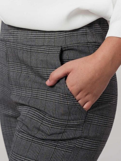 Pantalon vestir cuadros brillo mujer