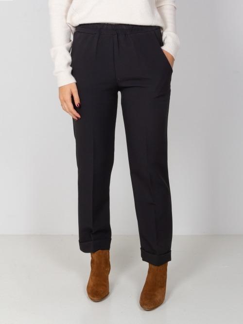 Pantalón wide leg cintura elastica Negro