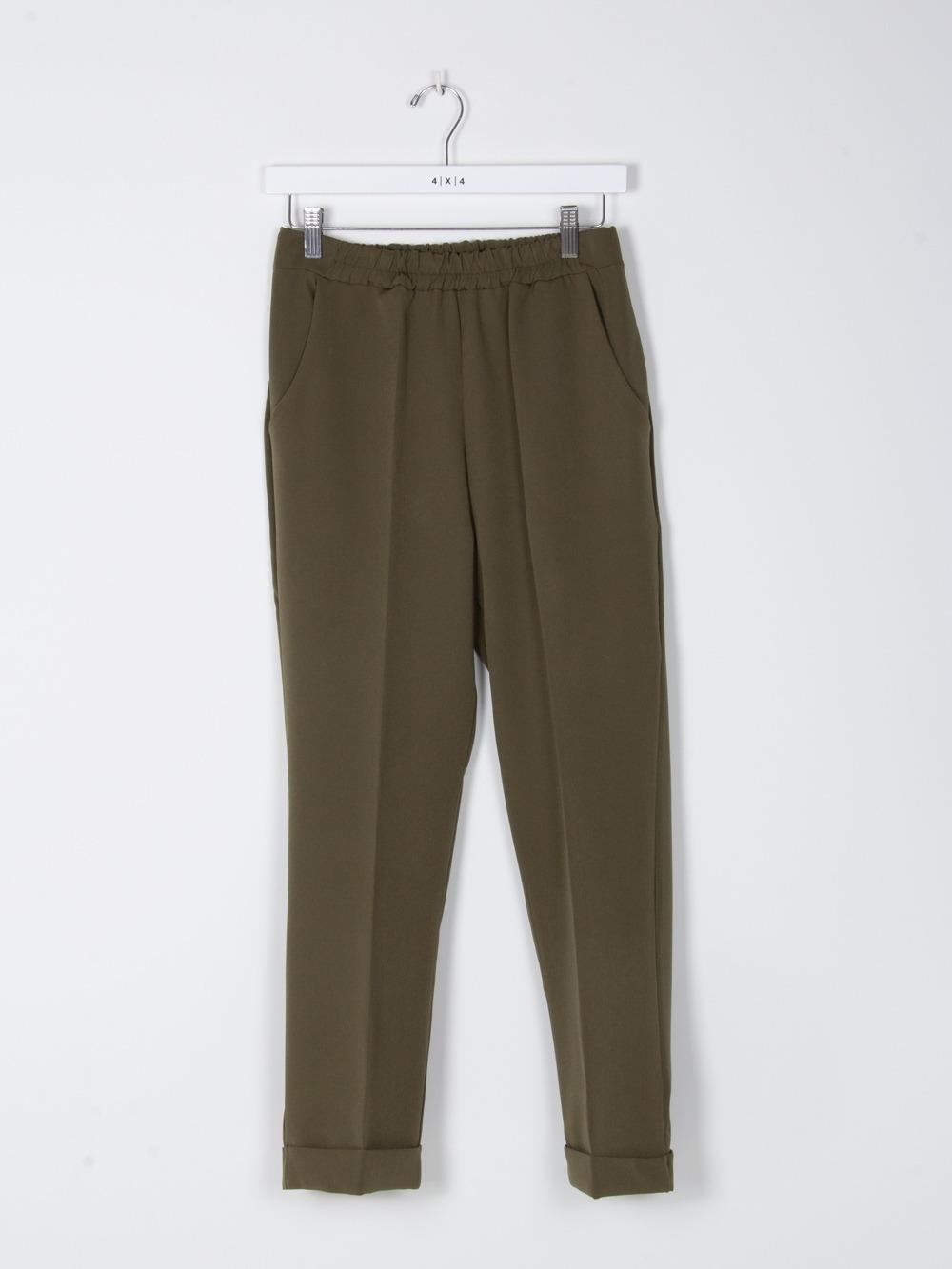 Woman wide leg elastic waist trousers Khaki
