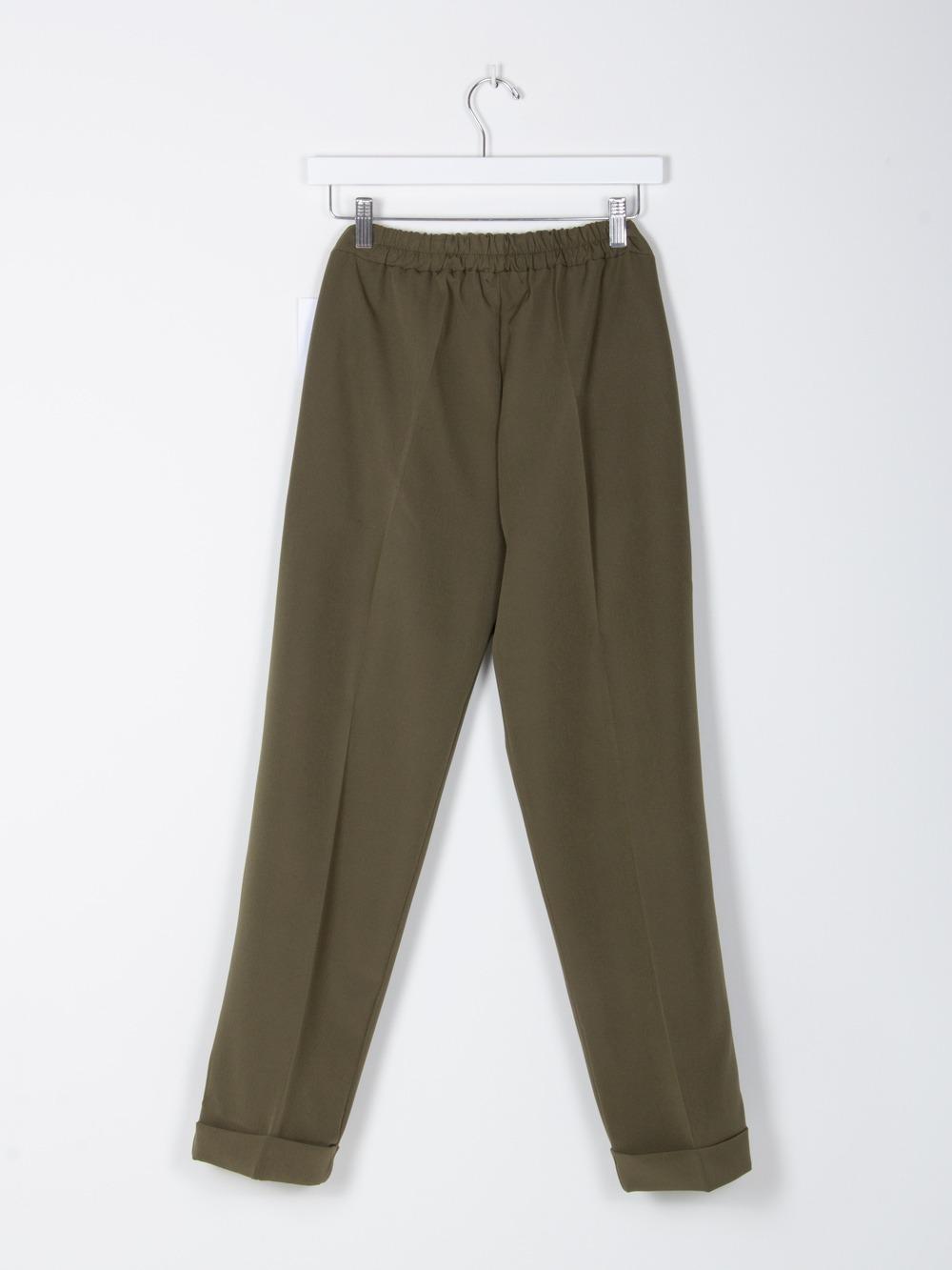 Pantalón mujer wide leg cintura elastica Caqui