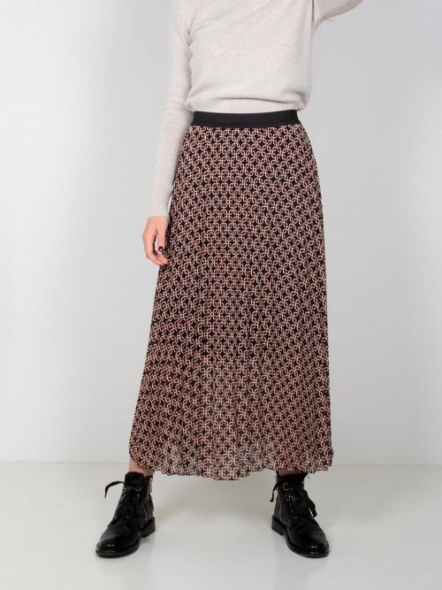Falda larga estampada cadenas mujer