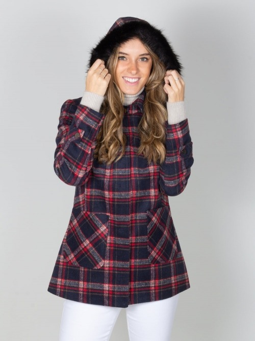 Abrigo pano cuadros capucha mujer