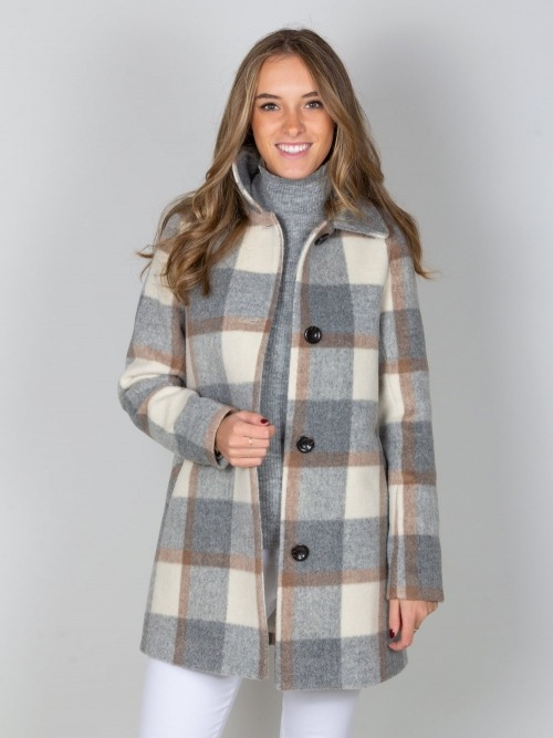 Abrigo lana cuadros mujer