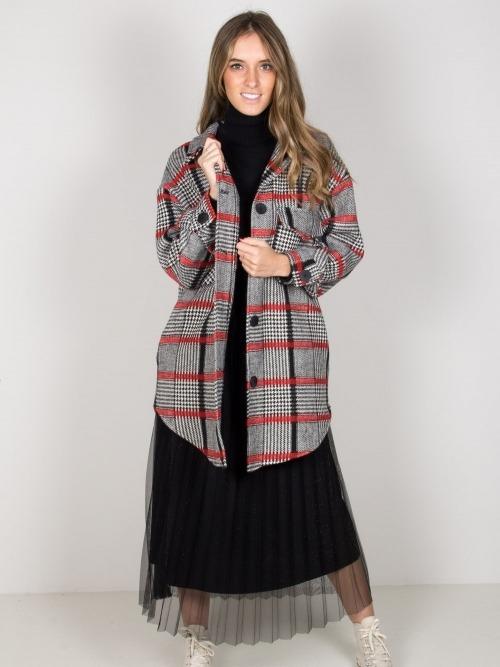 Chaqueta lana cuadros mujer