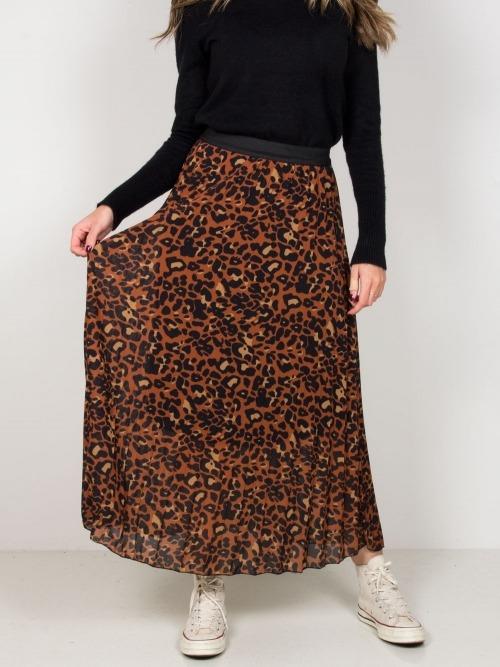 Falda larga fluida animal print mujer