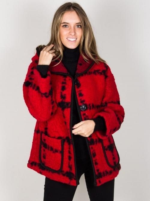 Abrigo lana corto cuadros mujer