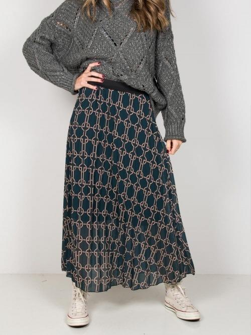 Falda larga estampada mujer