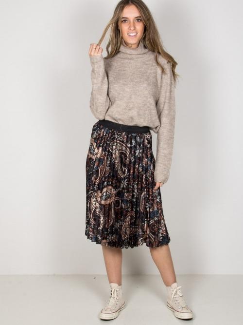 Falda midi raso estampada mujer