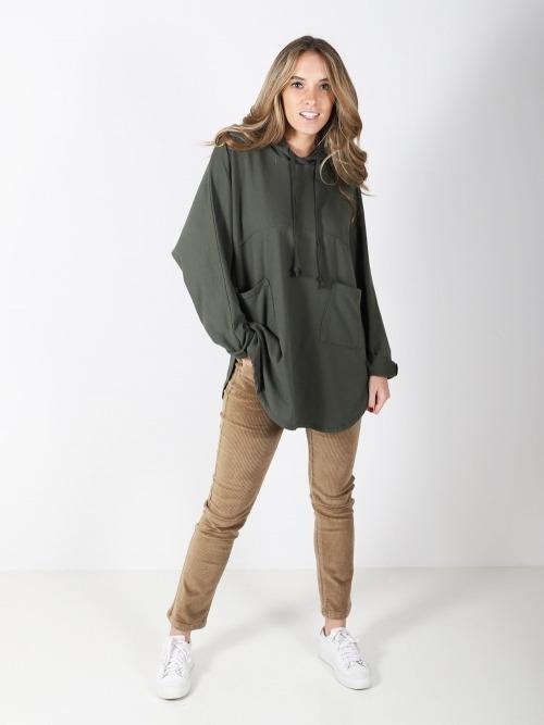 Sudadera larga bolsillos mujer